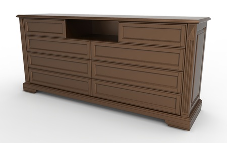 3d render of  wooden chest of drawers for clothes photo