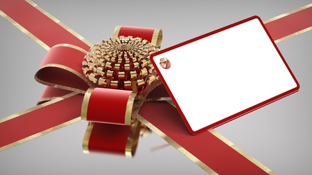 Christmas gift with ribbon and card  Stock Photo - 11765968