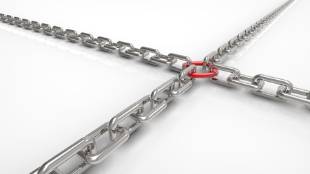 Chain fastened by a red ring  Stock Photo - 11765966