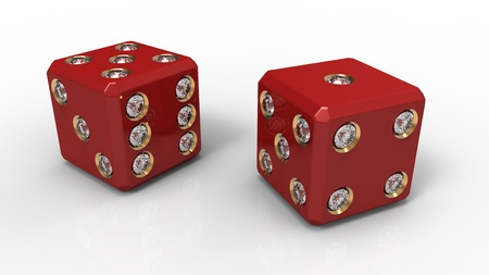 Two red dice with precious stones on a white background photo