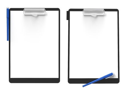 3d render of  clipboard and a white paper on a white background.  photo