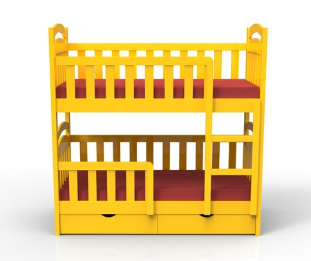 3d render of  yellow bunk bed photo