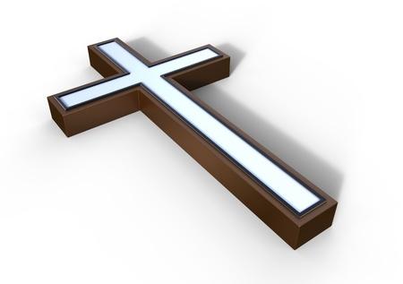 cruz religiosa: Cruz de bronce sobre una superficie blanca Foto de archivo