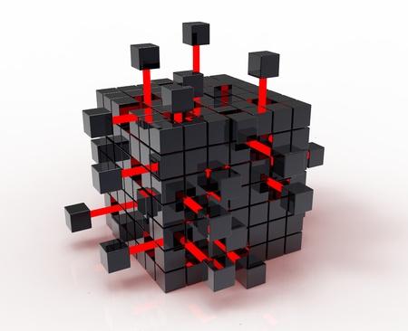 Abstract 3d illustration of cube assembling from blocks Stock Illustration - 12270791