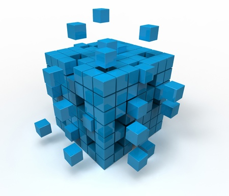 3d illustration of cube assembling from blocks Stock Illustration - 12270793