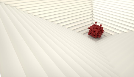 3d render of  abstract cube in the middle of the pyramid photo