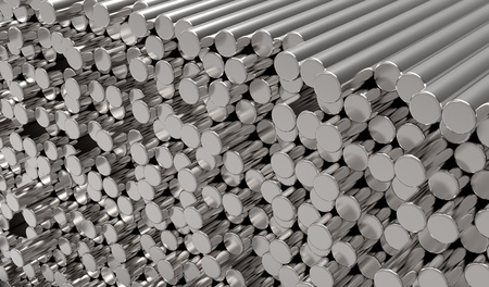 chrome cylinder: 3d abstract  round metal bars Stock Photo
