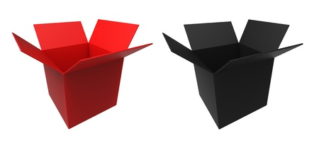3d render of  red and black box on a white background Stock Photo - 12632172