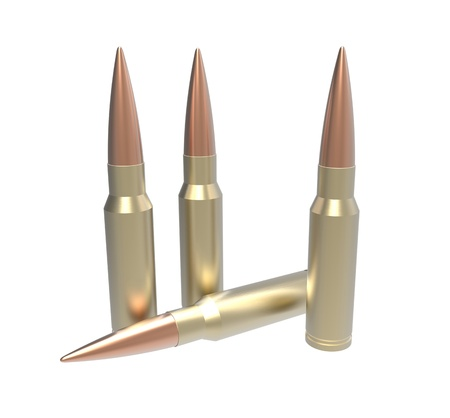 3d render of bullet on a white background photo