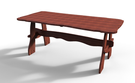 3d render of old wooden table photo
