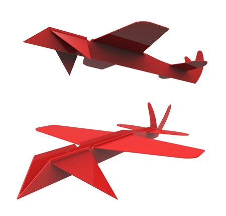 glider: 3d render of  Red glider on a white background Stock Photo
