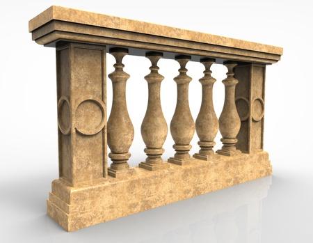 balustrade: 3d render of  marble balustrade