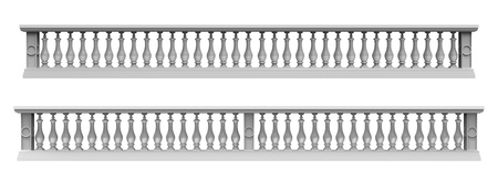 3d render of  balustrade on a white background