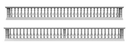 handrail: 3d render of  balustrade on a white background