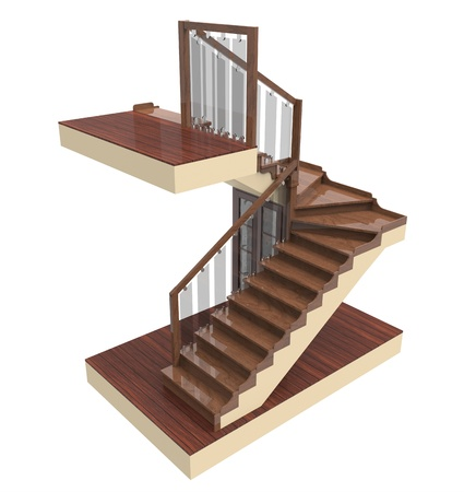 elegant staircase: 3d render of staircase with wooden steps on a white background