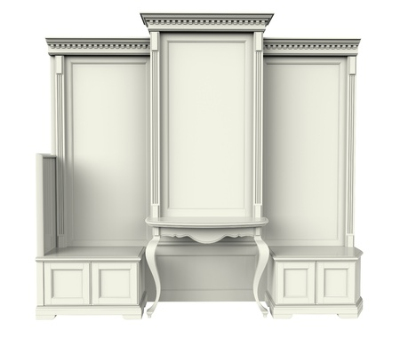 extensible: 3d render of wardrobe on a white background
