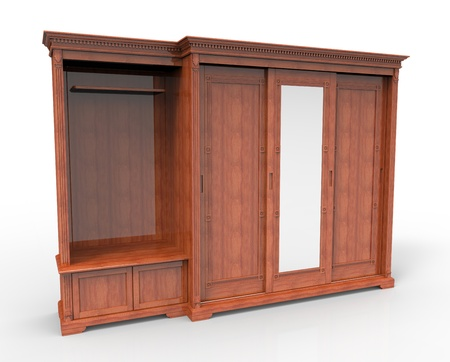 furniture detail: 3d render of wooden wardrobe with sliding doors Stock Photo