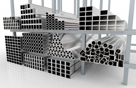 aluminum rod: 3d render of  metal pipes on shelf Stock Photo
