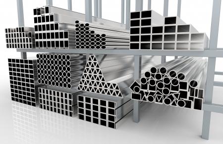 siderurgia: 3d rinden de tubos de metal en la plataforma Foto de archivo