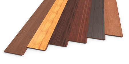 flooring design: Laminate of different species on a white background