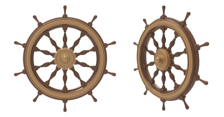 3d render of ship wheel on a white background photo
