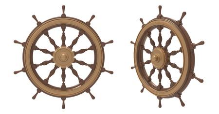 timon barco: 3d rinden de rueda de la nave sobre un fondo blanco
