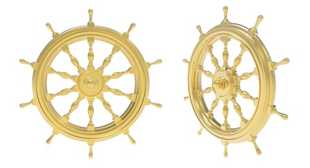 helm boat: 3d rinden de rueda de la nave de oro sobre un fondo blanco