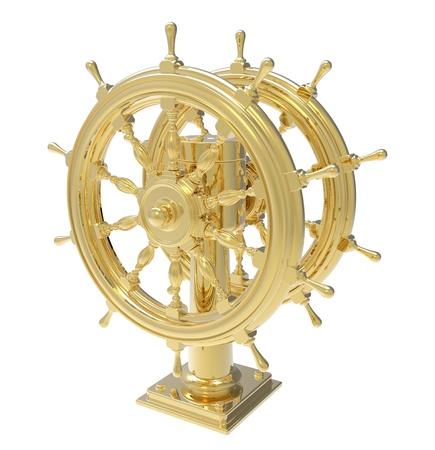 ship wheel: Golden ship wheel on a white background