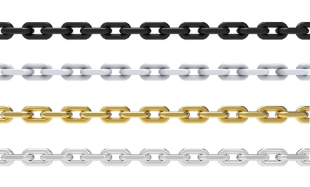3d render of four chains on white background Stock Photo - 16798248