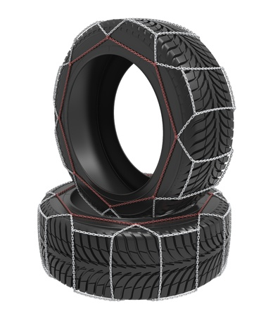 The complete set of the winter tyre with chains on a white background