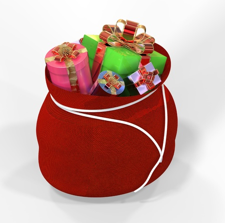 sackful: 3d render of bag with gifts on white background
