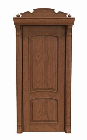 Wooden door on a white background Stock Photo - 16899610