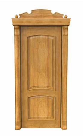 3d render of wooden door on a white background Stock Photo - 16899612