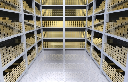 Bank vault with gold bars 3d render Stock Photo