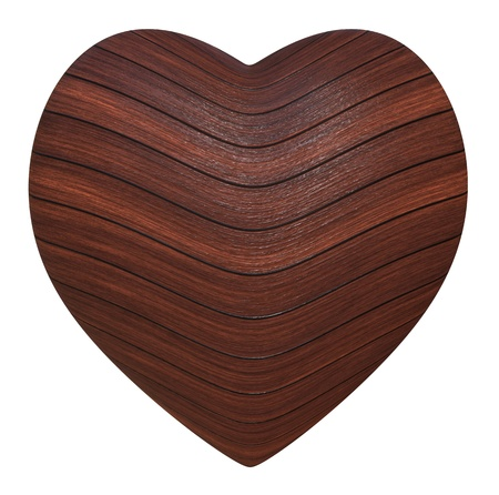 enamoured: Wooden heart on a white background