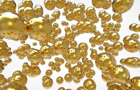 golden spheres on a white background Stock Photo - 17897522