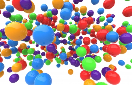 Colorful balls of different colors on a white background