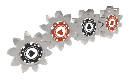 3d render of poker chips on gears Stock Photo - 18226953