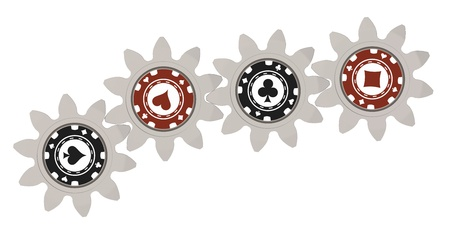 3d render of poker chips on gears Stock Photo - 18226954
