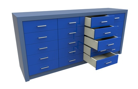 fittings: 3d render of  cupboard with opened drawer