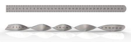 millimetre: 3d render of metal ruler Stock Photo