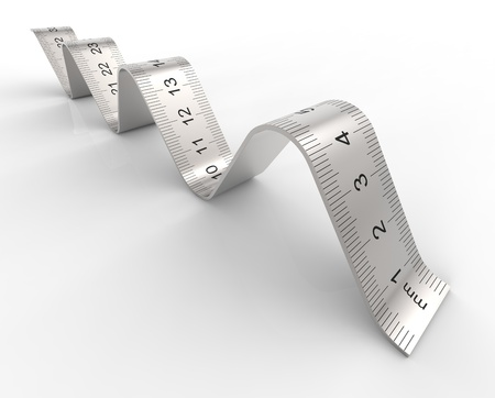 millimetre: Curved ruler on the surface