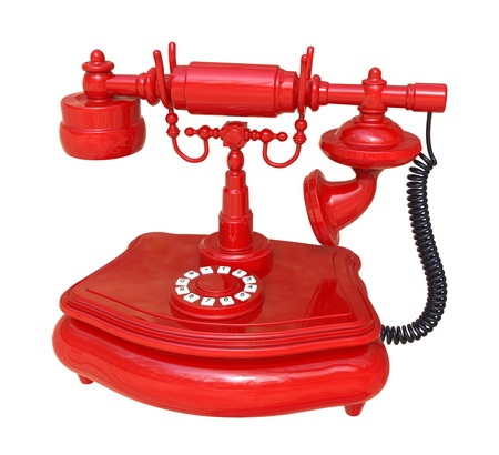 3d render of  old-fashioned red phone on a white background
