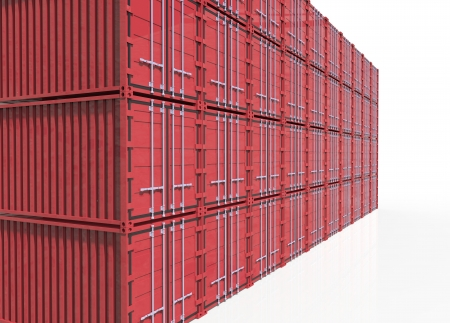 Red cargo container on white  photo