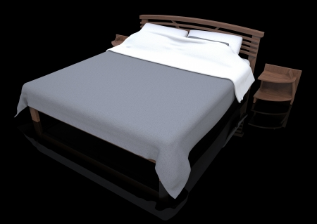 3d render of wooden bed on a black background photo