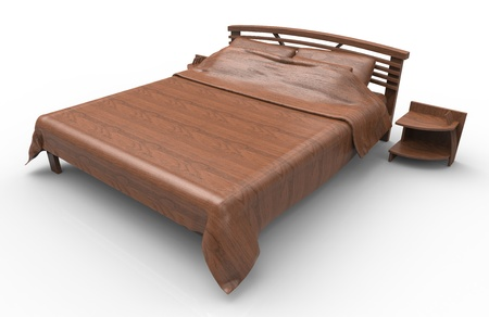 3d render of bed of wood photo