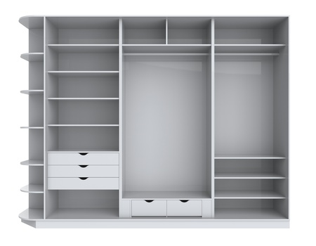 Wardrobe with empty shelves on a white background