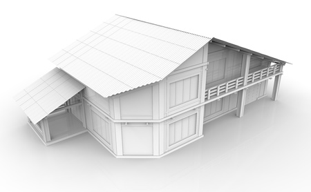 3d render of house isolated on white photo