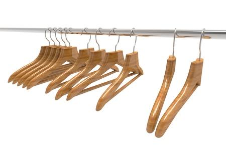 clothes rail: Wooden coat hangers on clothes rail