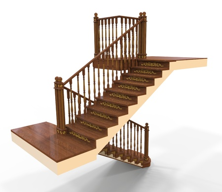 3d render of wooden staircase Stock Photo